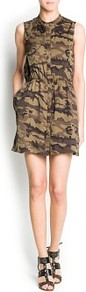 Camo Print Dress - style: shirt; length: mid thigh; fit: fitted at waist; sleeve style: sleeveless; waist detail: fitted waist; secondary colour: dark green; predominant colour: khaki; occasions: casual, holiday; neckline: collarstand; fibres: polyester/polyamide - 100%; hip detail: soft pleats at hip/draping at hip/flared at hip; sleeve length: sleeveless; pattern type: fabric; pattern size: small &amp; busy; pattern: patterned/print; texture group: other - light to midweight