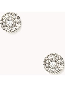 Round Rhinestone Studs - predominant colour: silver; occasions: casual, evening, occasion; style: stud; length: short; size: small; material: chain/metal; fastening: pierced; trends: metallics; finish: metallic; embellishment: crystals