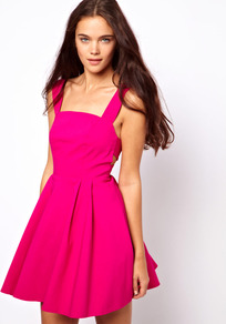 Structured Strap Back Dress In Bengaline - length: mid thigh; neckline: low v-neck; pattern: plain; sleeve style: sleeveless; waist detail: fitted waist; back detail: low cut/open back; predominant colour: hot pink; occasions: evening, occasion; fit: fitted at waist & bust; style: fit & flare; fibres: viscose/rayon - stretch; sleeve length: sleeveless; trends: fluorescent, volume; pattern type: fabric; texture group: other - light to midweight