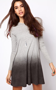 Swing Dress With Dip Dye Hem - style: a-line; length: mid thigh; fit: loose; pattern: tie dye; secondary colour: charcoal; predominant colour: mid grey; occasions: casual, evening; fibres: cotton - 100%; neckline: crew; sleeve length: long sleeve; sleeve style: standard; pattern type: fabric; pattern size: standard; texture group: jersey - stretchy/drapey