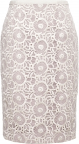 Coleta Skirt - style: pencil; fit: body skimming; waist: high rise; predominant colour: ivory; occasions: evening, work, occasion; length: just above the knee; fibres: polyester/polyamide - 100%; texture group: lace; pattern type: fabric; pattern size: big & busy; pattern: patterned/print; embellishment: lace