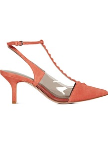 Henriette Pyramid Stud Kitten Heel Slingbacks - predominant colour: coral; occasions: evening, work, occasion, holiday; material: suede; heel height: mid; embellishment: studs; ankle detail: ankle strap; heel: kitten; toe: pointed toe; style: slingbacks; finish: plain; pattern: plain