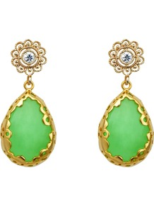 Malay Jade Teardrop Earrings, Green - predominant colour: mint green; occasions: evening, occasion; style: drop; length: mid; size: standard; material: chain/metal; fastening: pierced; finish: metallic; embellishment: jewels