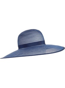French Navy Wide Brim Sun Hat, Blue - predominant colour: indigo; occasions: evening, occasion, holiday; type of pattern: standard; style: wide brimmed; size: large; material: macrame/raffia/straw; pattern: plain