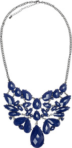 Dalia Necklace - predominant colour: navy; occasions: evening, occasion; style: bib; length: short; size: large/oversized; material: chain/metal; finish: metallic; embellishment: jewels