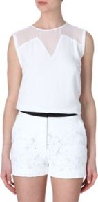 Exclu Top - pattern: plain; sleeve style: sleeveless; shoulder detail: contrast pattern/fabric at shoulder; predominant colour: white; occasions: casual, evening, occasion; length: standard; style: top; fit: body skimming; neckline: crew; back detail: keyhole/peephole detail at back; sleeve length: sleeveless; texture group: sheer fabrics/chiffon/organza etc.; pattern type: fabric; fibres: viscose/rayon - mix
