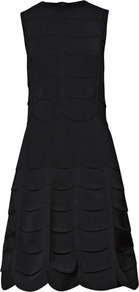 Scallop Knit Fitted Dress - pattern: plain; sleeve style: sleeveless; style: full skirt; waist detail: fitted waist; predominant colour: black; occasions: evening, work, occasion; length: just above the knee; fit: fitted at waist &amp; bust; fibres: viscose/rayon - stretch; neckline: crew; sleeve length: sleeveless; texture group: crepes; trends: glamorous day shifts; hip detail: ruffles/tiers/tie detail at hip; pattern type: fabric