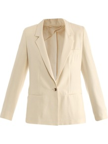 Galea Jacket - pattern: plain; length: below the bottom; style: boyfriend; collar: standard lapel/rever collar; predominant colour: ivory; occasions: evening, work, occasion; fit: straight cut (boxy); fibres: silk - 100%; sleeve length: long sleeve; sleeve style: standard; collar break: low/open; pattern type: fabric; texture group: woven light midweight