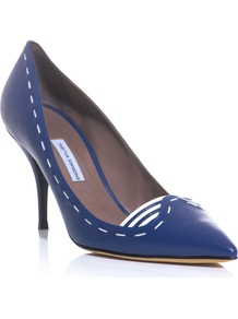 Stitch Leather Court Shoes - predominant colour: navy; occasions: evening, work; material: leather; heel height: high; heel: stiletto; toe: pointed toe; style: courts; finish: plain; pattern: plain