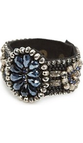 Crystals Bracelet - secondary colour: navy; predominant colour: black; occasions: evening, occasion; style: cuff; size: large/oversized; material: fabric; finish: plain; embellishment: jewels