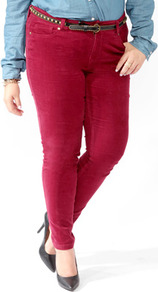Corduroy Skinnies - style: skinny leg; length: standard; pattern: plain; pocket detail: traditional 5 pocket; waist: mid/regular rise; predominant colour: true red; occasions: casual, evening; fibres: cotton - stretch; texture group: corduroy; pattern type: fabric; pattern size: standard