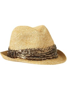 Sequin Straw Fedora - predominant colour: camel; secondary colour: bronze; occasions: casual, holiday; type of pattern: standard; style: fedora; size: standard; material: macrame/raffia/straw; embellishment: sequins; pattern: animal print; trends: metallics