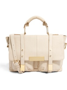 Leather Satchel Bag With Metal Tips - predominant colour: ivory; secondary colour: gold; occasions: casual, work, holiday; type of pattern: standard; style: satchel; length: handle; size: standard; material: leather; pattern: plain; finish: plain; embellishment: chain/metal