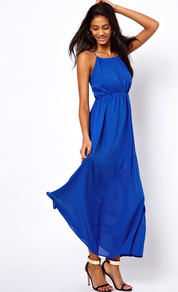 Maxi Dress With Keyhole Detail - sleeve style: spaghetti straps; fit: empire; pattern: plain; style: maxi dress; predominant colour: royal blue; occasions: casual, evening, holiday; length: floor length; neckline: peep hole neckline; fibres: polyester/polyamide - 100%; back detail: keyhole/peephole detail at back; sleeve length: sleeveless; pattern type: fabric; texture group: other - light to midweight
