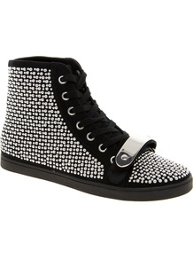 Drama Studded High Top Trainers - predominant colour: black; occasions: casual, evening, work, holiday; material: fabric; heel height: flat; embellishment: studs; ankle detail: ankle tie; toe: round toe; style: trainers; trends: metallics; finish: plain; pattern: plain