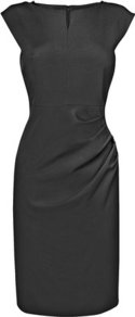 Tancy Tailored Foldover Neck Dress Black - style: shift; neckline: slash/boat neckline; sleeve style: capped; fit: tailored/fitted; pattern: plain; predominant colour: black; occasions: evening, work, occasion; length: just above the knee; fibres: viscose/rayon - stretch; hip detail: soft pleats at hip/draping at hip/flared at hip; sleeve length: short sleeve; pattern type: fabric; texture group: other - light to midweight