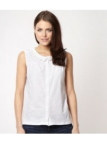 Designer White Daisy Neck Top - neckline: shirt collar/peter pan/zip with opening; pattern: plain; sleeve style: sleeveless; style: blouse; predominant colour: white; occasions: casual, work; length: standard; fibres: cotton - 100%; fit: body skimming; sleeve length: sleeveless; texture group: cotton feel fabrics; pattern type: fabric; embellishment: applique