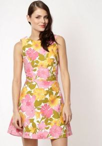 Designer White Candy Pop Floral Dress - length: mid thigh; sleeve style: sleeveless; occasions: casual, occasion, holiday; fit: fitted at waist &amp; bust; style: fit &amp; flare; fibres: cotton - 100%; neckline: crew; predominant colour: multicoloured; sleeve length: sleeveless; trends: high impact florals; pattern type: fabric; pattern size: big &amp; busy; pattern: florals; texture group: jersey - stretchy/drapey