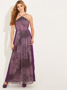 Grey Printed And Purple Chiffon Maida Vale Maxi Dress - sleeve style: sleeveless; style: maxi dress; neckline: halter neck; back detail: low cut/open back; waist detail: belted waist/tie at waist/drawstring; predominant colour: purple; occasions: evening, occasion; length: floor length; fit: fitted at waist &amp; bust; fibres: polyester/polyamide - stretch; hip detail: sculpting darts/pleats/seams at hip; sleeve length: sleeveless; texture group: sheer fabrics/chiffon/organza etc.; trends: statement prints; pattern type: fabric; pattern size: big &amp; light; pattern: florals