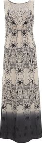 Women's Anisa Print Silk Maxi Dress, Multi Coloured - neckline: round neck; fit: empire; sleeve style: sleeveless; style: maxi dress; bust detail: added detail/embellishment at bust; secondary colour: navy; predominant colour: stone; occasions: casual, holiday; length: floor length; fibres: silk - 100%; sleeve length: sleeveless; pattern type: fabric; pattern size: big & busy; pattern: patterned/print; texture group: jersey - stretchy/drapey