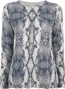 Python Print Cardigan - neckline: round neck; length: below the bottom; bust detail: buttons at bust (in middle at breastbone)/zip detail at bust; secondary colour: ivory; predominant colour: navy; occasions: casual, evening, work; style: standard; fibres: linen - mix; fit: standard fit; sleeve length: long sleeve; sleeve style: standard; texture group: knits/crochet; pattern type: knitted - fine stitch; pattern size: standard; pattern: animal print