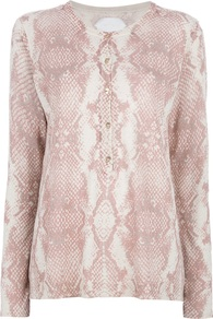 Python Print Cardigan - neckline: round neck; length: below the bottom; bust detail: buttons at bust (in middle at breastbone)/zip detail at bust; secondary colour: white; predominant colour: blush; occasions: casual, evening, work; style: standard; fibres: linen - mix; fit: standard fit; sleeve length: long sleeve; sleeve style: standard; texture group: knits/crochet; pattern type: knitted - fine stitch; pattern size: standard; pattern: animal print