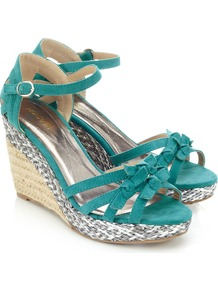 Panama Wedge - predominant colour: teal; secondary colour: silver; occasions: casual, occasion, holiday; material: fabric; heel height: high; ankle detail: ankle strap; heel: wedge; toe: open toe/peeptoe; style: strappy; finish: plain; pattern: colourblock; embellishment: bow