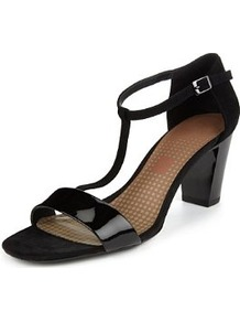 Footglove™ Fashion Suede High Heel T Bar Sandals - predominant colour: black; occasions: evening, occasion; material: leather; heel height: mid; ankle detail: ankle strap; heel: block; toe: open toe/peeptoe; style: standard; finish: patent; pattern: plain