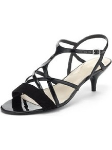 Autograph Water Resistant Strappy Sandals With Insolia® - predominant colour: black; occasions: evening, occasion; material: leather; heel height: mid; ankle detail: ankle strap; heel: stiletto; toe: open toe/peeptoe; style: strappy; finish: patent; pattern: plain