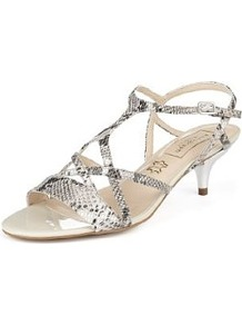 Autograph Water Resistant Strappy Sandals With Insolia® - predominant colour: light grey; occasions: evening, occasion, holiday; material: leather; heel height: mid; ankle detail: ankle strap; heel: kitten; toe: open toe/peeptoe; style: strappy; finish: plain; pattern: animal print