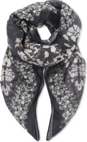 Printed Silk Scarf - secondary colour: white; predominant colour: charcoal; occasions: casual, evening, work, occasion, holiday; type of pattern: heavy; style: regular; size: standard; material: silk; trends: high impact florals, statement prints; pattern: patterned/print