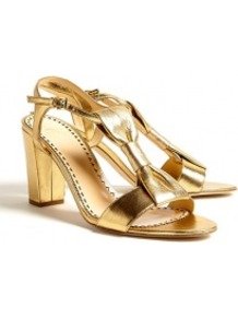 Metallic Leather Bow Block Heel Sandals Moschino Cheap & - predominant colour: gold; occasions: evening; material: leather; heel height: high; ankle detail: ankle strap; heel: block; toe: open toe/peeptoe; style: standard; finish: metallic; pattern: plain; embellishment: bow