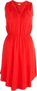 Sleeveless Pocket Shift Dress - length: mid thigh; neckline: v-neck; fit: fitted at waist; pattern: plain; sleeve style: sleeveless; style: blouson; waist detail: fitted waist; bust detail: pocket detail at bust; predominant colour: true red; occasions: casual, evening; fibres: viscose/rayon - stretch; sleeve length: sleeveless; pattern type: fabric; texture group: jersey - stretchy/drapey
