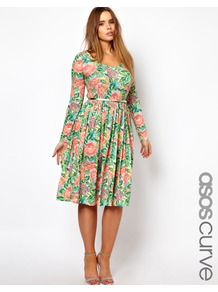 Curve Midi Dress In Pixulated Floral - length: below the knee; waist detail: belted waist/tie at waist/drawstring; secondary colour: pink; occasions: casual, evening, occasion; fit: fitted at waist & bust; style: fit & flare; neckline: scoop; fibres: polyester/polyamide - stretch; predominant colour: multicoloured; sleeve length: long sleeve; sleeve style: standard; trends: high impact florals; pattern type: fabric; pattern size: big & busy; pattern: florals; texture group: jersey - stretchy/drapey