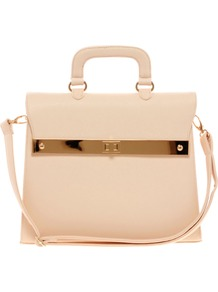 Top Handle Bag With Bar Lock Fitting - predominant colour: nude; occasions: casual, work; type of pattern: standard; style: structured bag; length: handle; size: standard; material: faux leather; pattern: plain; finish: plain; embellishment: chain/metal