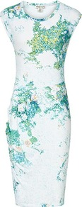 Gilda Pointelle Print Day Dress - style: shift; neckline: round neck; sleeve style: capped; waist detail: fitted waist; predominant colour: white; secondary colour: teal; occasions: evening, occasion; length: on the knee; fit: body skimming; fibres: viscose/rayon - stretch; sleeve length: sleeveless; texture group: cotton feel fabrics; pattern type: fabric; pattern size: small & busy; pattern: patterned/print