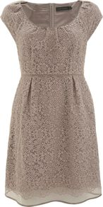 Women&#x27;s Stone Embroidered Bell Dress, Stone - style: shift; length: mid thigh; neckline: round neck; sleeve style: capped; fit: empire; pattern: plain; predominant colour: stone; occasions: evening, occasion; fibres: cotton - mix; hip detail: sculpting darts/pleats/seams at hip; sleeve length: short sleeve; texture group: sheer fabrics/chiffon/organza etc.; pattern type: fabric