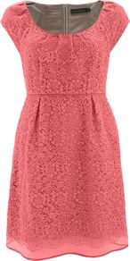 Women's Famingo Embroidered Bell Dress, Pink - style: shift; neckline: round neck; sleeve style: capped; fit: fitted at waist; pattern: plain; predominant colour: pink; occasions: evening, occasion; length: just above the knee; fibres: cotton - mix; hip detail: sculpting darts/pleats/seams at hip; shoulder detail: flat/draping pleats/ruching/gathering at shoulder; sleeve length: short sleeve; texture group: sheer fabrics/chiffon/organza etc.; bust detail: tiers/frills/bulky drapes/pleats; pattern type: fabric