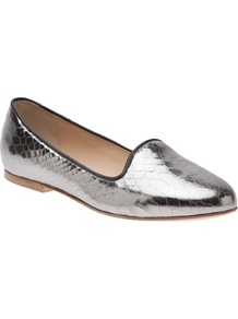 Metallic Snake Smoking Slipper - predominant colour: silver; occasions: casual, evening, holiday; material: leather; heel height: flat; toe: round toe; style: loafers; trends: metallics; finish: metallic; pattern: plain