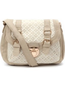 Cream Crochet Across Body Bag - predominant colour: ivory; secondary colour: stone; occasions: casual; type of pattern: standard; style: satchel; length: across body/long; size: small; material: faux leather; finish: plain; pattern: colourblock