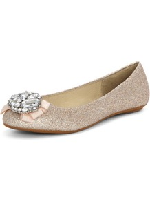 Miss Kg Gold Glitter Bow Pumps - predominant colour: gold; occasions: evening, occasion; material: faux leather; heel height: flat; embellishment: glitter; toe: round toe; style: ballerinas / pumps; finish: metallic; pattern: plain