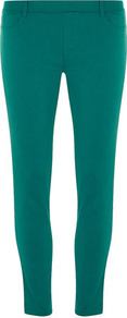 Eden Jade Capri Jeggings - pattern: plain; style: jeggings; pocket detail: traditional 5 pocket; waist: mid/regular rise; predominant colour: teal; occasions: casual; length: ankle length; fibres: cotton - stretch; texture group: denim; pattern type: fabric
