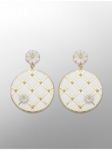 Marcel Wanders Capitoné Floral Earrings - predominant colour: white; secondary colour: gold; occasions: casual; style: drop; length: short; size: standard; material: chain/metal; fastening: pierced; finish: plain