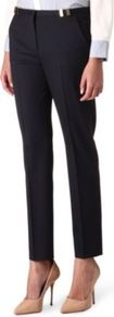 Relaxed Straight Leg Trousers - pattern: plain; waist: mid/regular rise; predominant colour: black; occasions: work; length: ankle length; fibres: wool - stretch; texture group: crepes; fit: slim leg; pattern type: fabric; style: standard