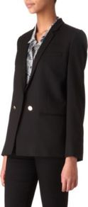 Wool Blazer - pattern: plain; style: double breasted blazer; length: below the bottom; collar: standard lapel/rever collar; predominant colour: black; occasions: evening, work, occasion; fit: tailored/fitted; fibres: wool - stretch; back detail: back vent/flap at back; sleeve length: long sleeve; sleeve style: standard; texture group: crepes; collar break: low/open; pattern type: fabric