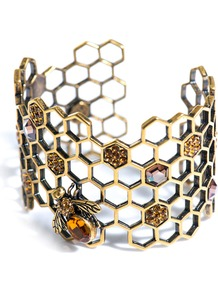 Honeycomb Bee Topaz Cuff - predominant colour: gold; occasions: evening, occasion; style: cuff; size: standard; material: chain/metal; finish: metallic; embellishment: jewels