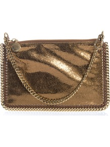 Falabella Cracked Metallic Bag - predominant colour: bronze; occasions: evening, occasion; type of pattern: standard; style: clutch; length: hand carry; size: standard; material: leather; pattern: plain; trends: metallics; finish: metallic; embellishment: chain/metal