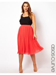 Curve Midi Skirt With Pleats - length: below the knee; pattern: plain; fit: loose/voluminous; style: pleated; waist: high rise; predominant colour: coral; occasions: casual, evening, work, occasion; fibres: polyester/polyamide - 100%; hip detail: soft pleats at hip/draping at hip/flared at hip; waist detail: narrow waistband; texture group: sheer fabrics/chiffon/organza etc.; trends: volume; pattern type: fabric