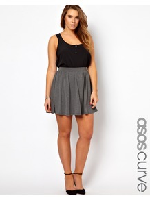 Curve Exclusive Skater Skirt In Jersey - length: mid thigh; pattern: plain; style: full/prom skirt; fit: loose/voluminous; waist detail: elasticated waist; waist: mid/regular rise; predominant colour: mid grey; occasions: casual; fibres: polyester/polyamide - mix; pattern type: fabric; pattern size: standard; texture group: jersey - stretchy/drapey