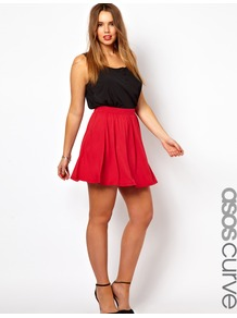 Curve Exclusive Skater Skirt In Jersey - length: mid thigh; pattern: plain; style: full/prom skirt; fit: loose/voluminous; waist detail: elasticated waist; waist: high rise; predominant colour: true red; occasions: casual, evening, work, occasion, holiday; fibres: viscose/rayon - stretch; hip detail: soft pleats at hip/draping at hip/flared at hip; pattern type: fabric; pattern size: standard; texture group: jersey - stretchy/drapey